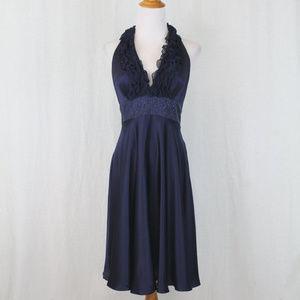 Adrianna Papell Beaded Navy Blue Silk Halter Dress